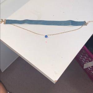 Denim choker with blue bead